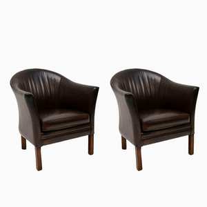 Vintage Danish Leather Armchairs from Mogens Hansen, 1960s, Set of 2