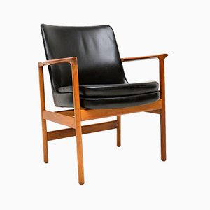 Leather & Walnut Armchairs by Ib Kofod Larsen for Froscher, 1960s, Set of 2