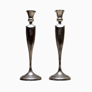 Große Kerzenhalter aus Edelstahl, 1960er, 2er Set