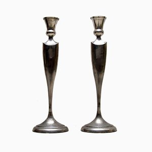 Large Stainless Steel Candle Holders, 1960s, Set of 2