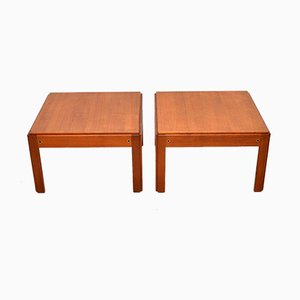 Vintage Danish Teak Side Tables by Illum Wikkelso, 1960s, Set of 2