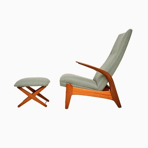 Rock n Relax Lounge Chair & Stool by Rolf Rastad & Adolf Relling for Gimson Slater, 1960s