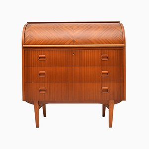 Swedish Teak Roll Top Secretaire by Egon Ostergaard, 1960s