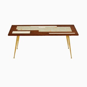 Teak & Brass Tiled Top Coffee Table, 1960s