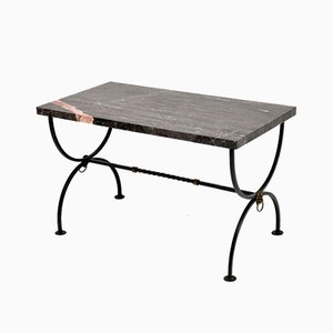 Mid-Century Iron & Marble Coffee Table, 1960s