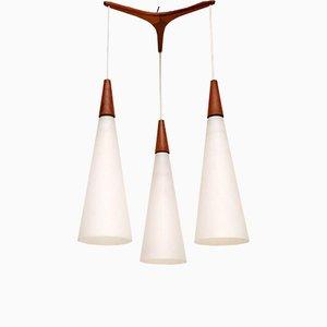 Vintage Teak & Glass Pendant by Uno & Östen Kristiansson for Luxus, 1960s
