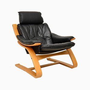 Danish Leather & Bentwood Armchair, 1970s