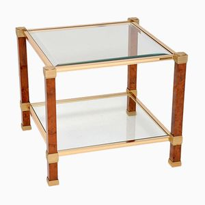 Vintage French Walnut & Glass Side Tables from Pierre Vandel, 1970s, Set of 2