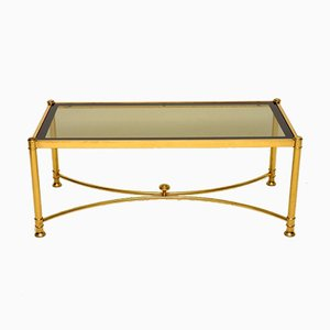 Vintage French Brass & Glass Coffee Table, 1970s