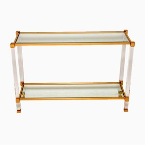 Vintage French Glass, Lucite & Brass Console Table, 1970s