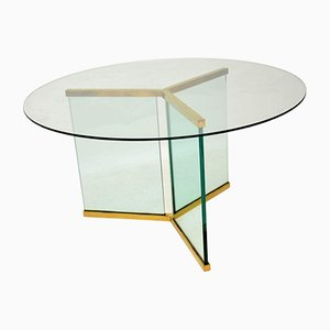 Vintage Glass Dining Table by Leon Rosen for Pace Collection, 1970s