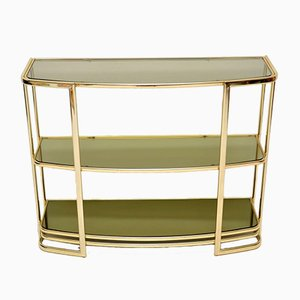 Vintage Italian Brass Console Table or Bookshelf, 1970s