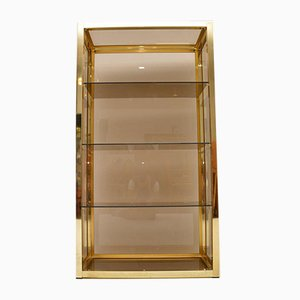 Vintage Italian Brass Display Cabinet from Zevi, 1970s