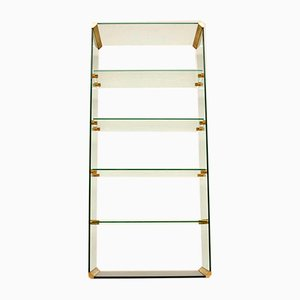Vintage Italian Glass & Brass Cabinet by Pierangelo Galotti for Gallotti & Radice, 1970s