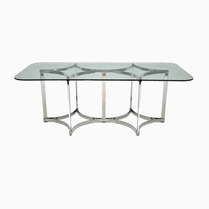 Vintage Chrome & Glass Dining Table by Richard Young for Merrow Associates, 1970s