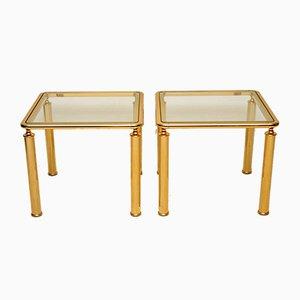 Vintage Brass & Glass Side Tables, 1970s, Set of 2