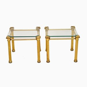 Vintage Brass & Glass Side Tables, 1970s, Set of 2