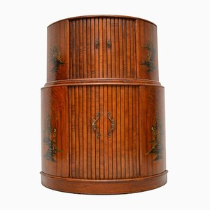 Art Deco Chinoiserie Cocktail-Schrank aus Nussholz