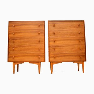 Vintage Walnut Chests of Drawers, 1960s, Set of 2