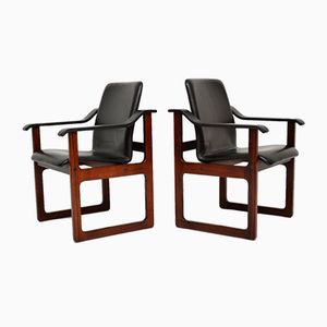 Vintage Danish Rosewood & Leather Armchairs from Dyrlund, 1970s, Set of 2
