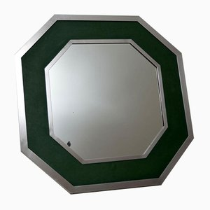 Vintage Chrome & Green Leather Mirror, 1970s