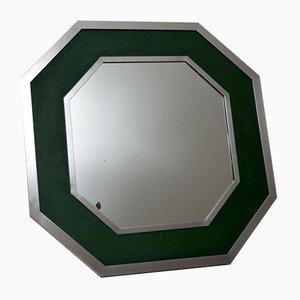 Vintage Spiegel aus Chrom & grünem Leder, 1970er