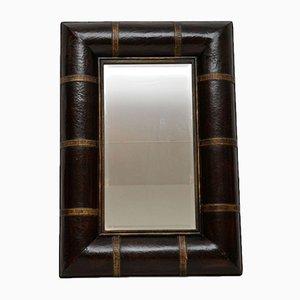 Vintage Spiegel aus Leder & vergoldetem Holz