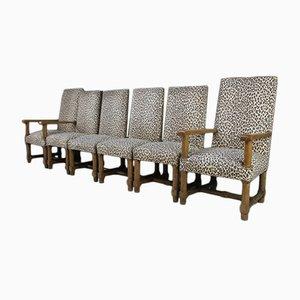 Chaises de Salle à Manger Arts & Crafts Antiques en Chêne, Set de 6