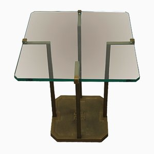 Brass & Glass Side Table by Peter Ghyczy, 1970s