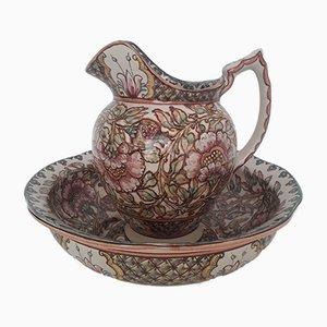 Aguamanil antiguo de cerámica pintada a mano de Paterna Maiolica d'Art