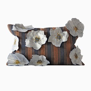 White Flowers on Stripes Cushion from GAIADIPAOLA
