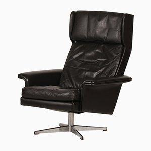Vintage Danish Black Leather Swivel Chair