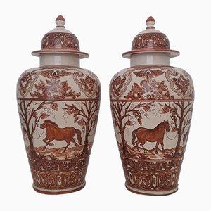 Antike handbemalte Keramikvasen von Paterna Maiolica d'Art, 2er Set