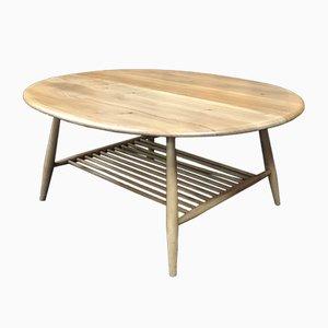 Table Basse Modèle 454 Vintage en Orme & en Hêtre avec Porte-Revues par Lucian Ercolani pour Ercol