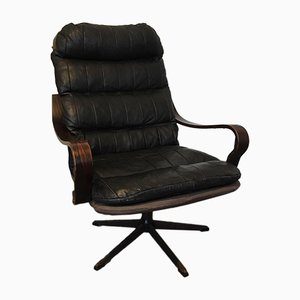 Scandinavian Swivel Leather Lounge Chair from Scarlet, 1960s