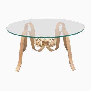 Table Basse en Fer Forgé Doré & en Verre, 1960s