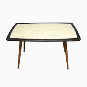 Grande Table Basse Vintage avec Plateau à Motifs en Verre, 1950s