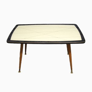 Tall Vintage Coffee Table with Patterned Glass Top, 1950s