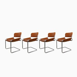 Italian Tubular Steel & Cognac Leather Cantilever Chairs, 1960s, Set of 4