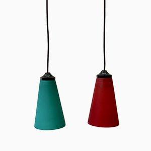 Lampade a sospensione rosse e verdi, anni '90, set di 2