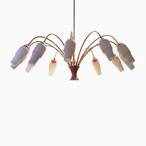 Lámpara de araña italiana bicolor, años 50