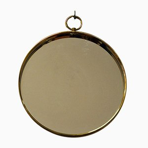 Espejo escandinavo redondo de latón, años 60