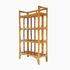 Bibliothèque Vintage en Rotin & en Bambou
