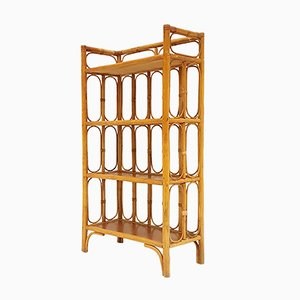 Vintage Rattan & Bamboo Bookcase