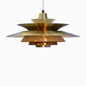 Danish Brass Pendant Lamp with Yellow Accent, 1960s