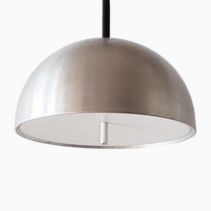 Lámpara colgante vintage de aluminio cepillado y plexiglás, años 60