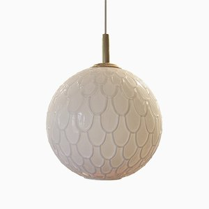 German Overglazed Glass Pendant Lamp, 1970s