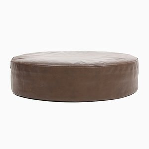 Vintage Danish Leather Pouf, 1960s