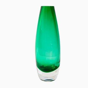 Jarrón escandinavo vintage de vidrio verde, años 70