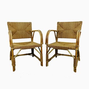 Art Deco Rattan Armchairs, Set of 2